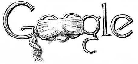 Ötletes illusztráció. a megszokott Goggle felirat, 2 o betű helyett egy bekötött szemű ember