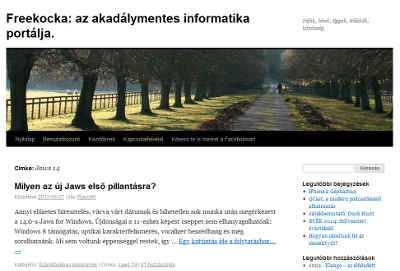 A honlap képe az eredeti Wordpress sablon.