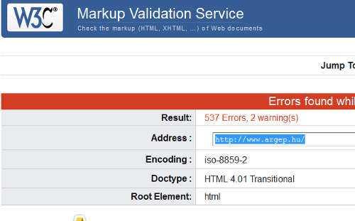 A kód szabványosságát ellenőrző szoftver 537 hibát talált az argep.hu oldal kódjában