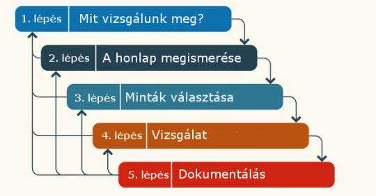 Infografika a honlap vizsgálatának 4 eleméről. Leírása a szövegben.