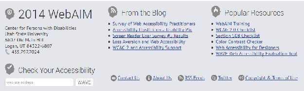 Akadálymentes lábrész a WebAim honlapján
