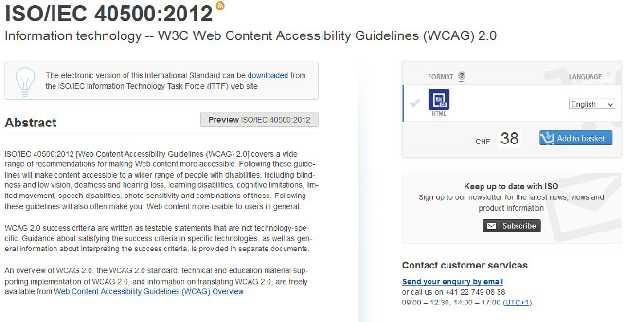 Az ISO/IEC 40500:2012 szabvány oldala a Nemzetközi Szabványügyi Hivatal honlapján.