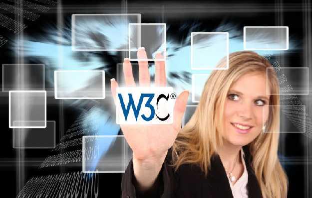 Egy láthatalan üveglapon sorakoznak a weboldalak, ebből egyetlen egyet kiválaszt a hölgy és felénk mutatja. A weboldalon ez áll: W3C, azaz World Wide Consortium.