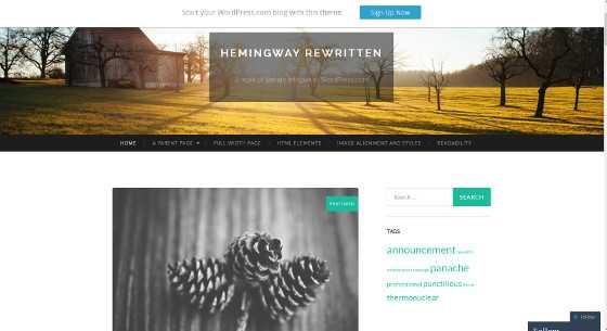 A Hemingway rewritten WordPress sablon kinézete.
