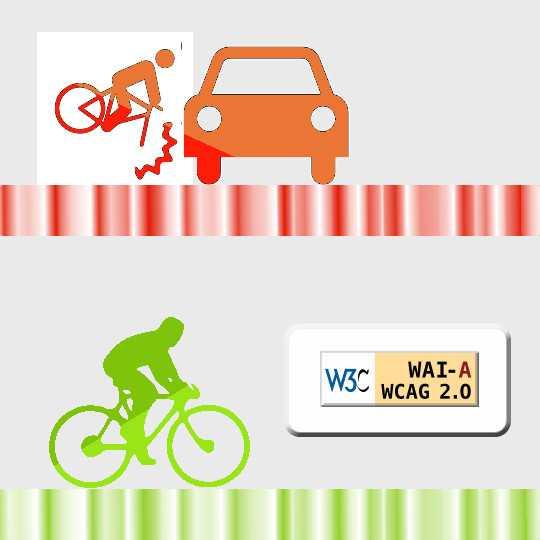 """A kép felső részében egy karambolozó kerékpáros ikonja. Az alsó részben pedig egy zöld színű versenykerékpáros. Az ő útjában nincs akadály. Ezt jelzi a WCAG """"A"""" minősítése"""