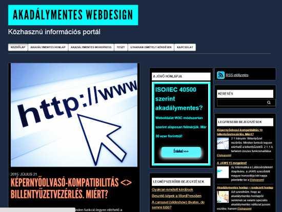 Akadálymentes webdesign oldal magas kontrasztú változata