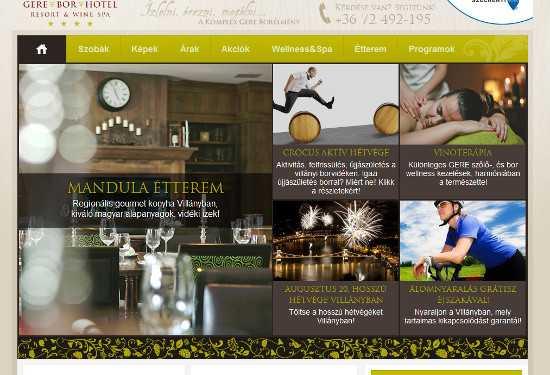 A Grid Slider működése a Crocus hotel honlapján