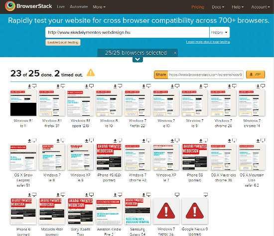 25 különböző tesztkörnyezetben néztük meg a weboldalt a BrowserStack szolgáltatásával