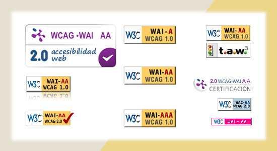 WCAG 2.0 A, AA és AAA minősítések grafikus jelölése