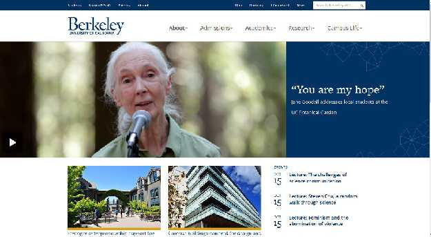 Berkeley University of California kezdőlaja