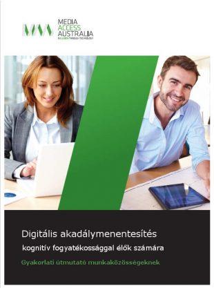 Gyakorlati útmutató a kognitív fogyatékossággal élők szervezeti támogatására c. angol nyelvű elektronikus könyv címlapja.