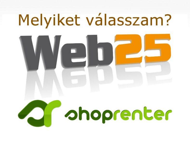 A web25 (egyedi akadálymentes webáruház) és Shoprenter (webáruház bérlés)logója
