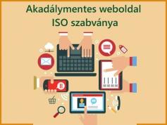Felirat: Akadálymentes weboldal ISO szabványa. A képen a különböző felhasználókat jelképező ikonok találhatók.