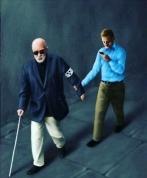 Egy vak ember vezet egy férfit, aki mobiltelefonozik. Festmény.